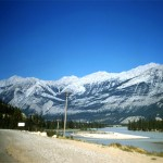 Athabasca river and roche bon homme - Jasper national park