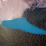 Kaufman lake from the air - Yoho national park