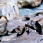 Sculptured rocks done by Kicking Horse river
