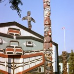 Totem pole and long house, Victoria
