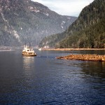 Tugboat and raft of logs